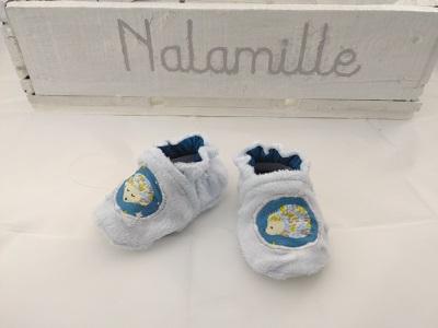 Chaussons en velours minky tout doux - original et coloré - Fait main en Auvergne - Nalamille Made in Chaynat